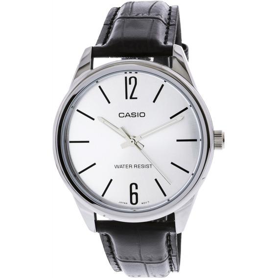 Relógio Masculino Casio Mtp-v005l 7bu - Prata/couro Preto