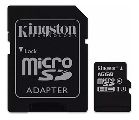 Cartao De Memoria Classe 10 Kingston 16gb Micro Sdhc 16