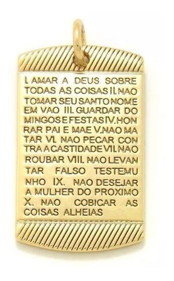Pingente Placa 10 Mandamentos Escrito 2 Lados Banhado A Ouro