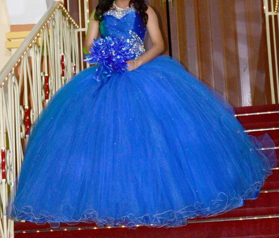 Vestido Quinceañera Xv Años Azul 3 Piezas Talla 7