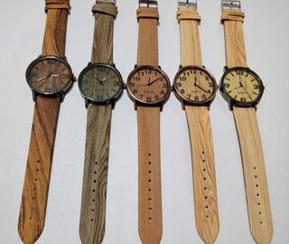 Reloj Pulsera Simil Bambu Madera X Mayor 5 Unidades