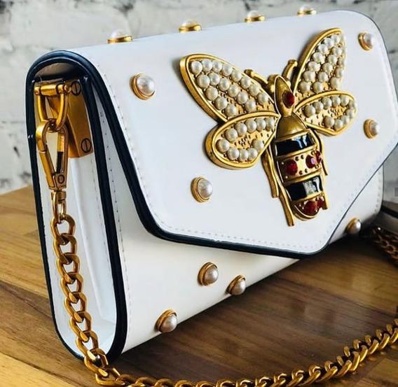 Bolsa Feminina Mini Bag Balada Pedraria Colorida Branca Pre