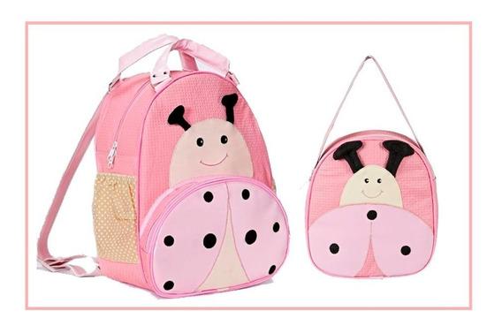 Kit Mochila Infantil Para Bebê Escolar Joaninha Tam P, E G