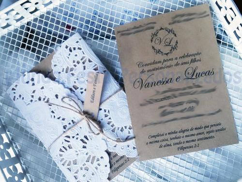 Imagem 1 de 6 de 70 Convite De Casamento Rústico Kraft E Renda Serve Batizado