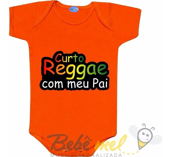 Roupa De Bebê Frase De Reggae Curto Reggae Com Meu Papai