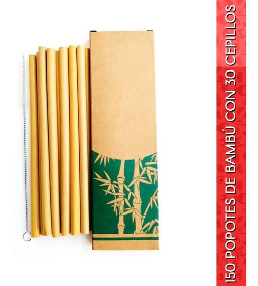Paquete De 150 Popotes De Bambú Ecológicos C/30 Cepillos