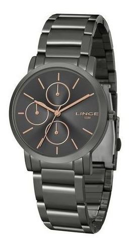 Relógio Lince Feminino Grafite/rosé Aço Original Lmy4568l