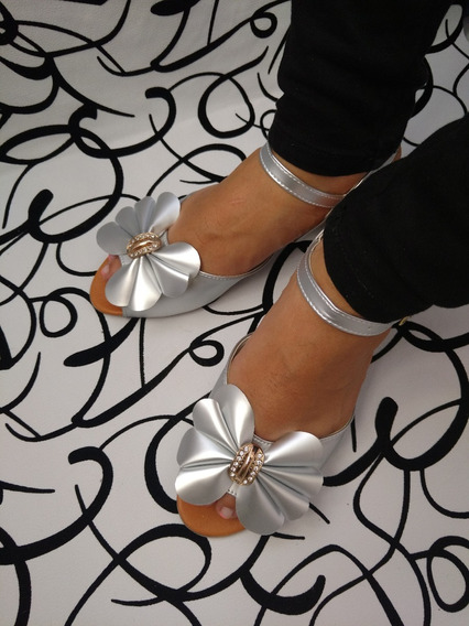 Sandalias Plateada Comodas Calzado Zapato Mujer Envío Gratis