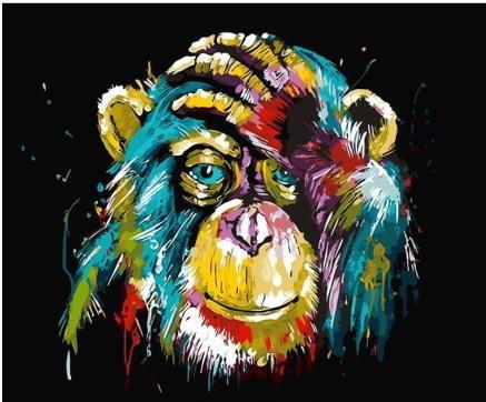 Pintura Numerada Chimpanze Colorido