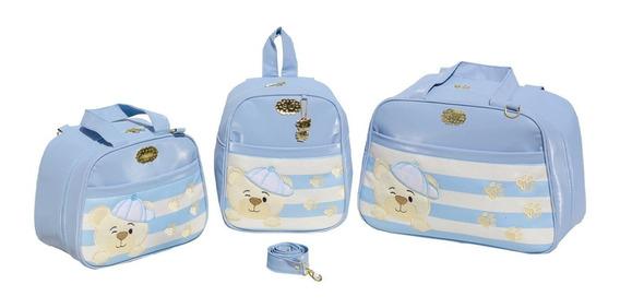 Bolsa Maternidade Gaby Mundo Infantil Mochila Ursinh 3p Azul