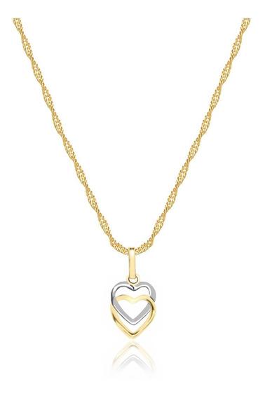 Cordão Feminino Ouro 18k 50cm + 1 Pingente Corações