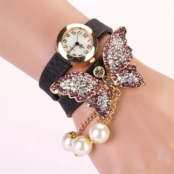 Pulsera Reloj De Mariposa Para Dama