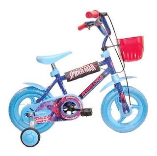 Bicicleta Infantil Cross Rodado 12 Niño Spiderman Env Gratis