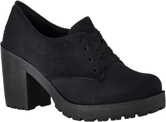 Sapato Oxford Feminino Cano Curto Salto Grosso Tratorado