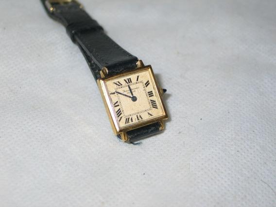 Relógio Jean Vernier Plaque Ouro Corda Swiss -cartier-tank-