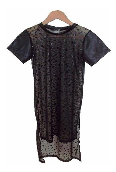 Remerón Vestido Transparente Y Eco-cuero Dark Gotico