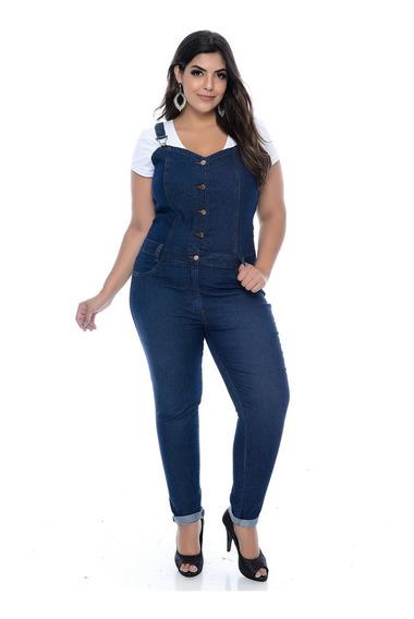Macacão Jardineira Jeans Cropped Buttons