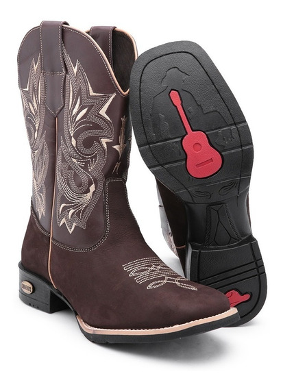 Bota Texana Country Botina Masculina Bico Quadrado + Cinto