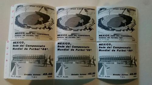 Imagen 1 de 3 de 3 Timbres Postaesl México 1986 Campeonato Mundial Futbol