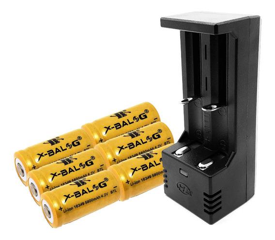 Carregador Duplo + 6 Baterias Gold 16340 Cr123a Recarregável