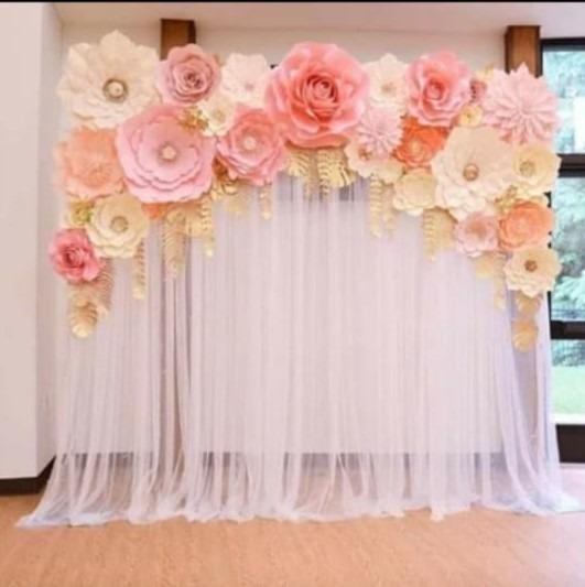 Flores Gigantes De Papel Muro Flores + Hojas