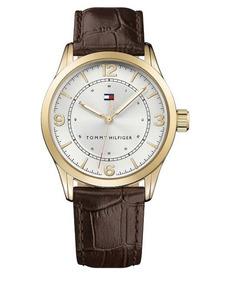 Relógio Tommy Hilfiger Couro Marrom & Dourado 42mm