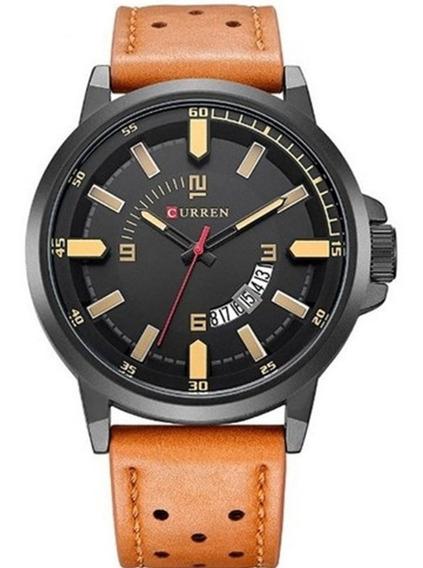 Relógio Masculino Curren 8228 Original Pulseira De Couro Com Calendário Frete Grátis