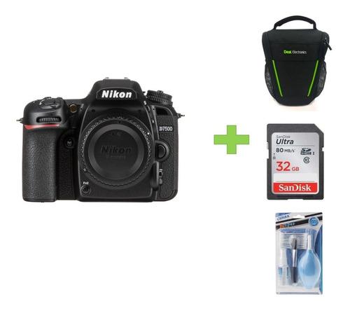 Cámara Nikon D7500 20.9 Mpx + Bolso +32gb +kit De Limpieza