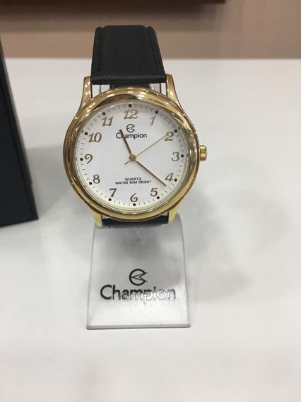 Relógio De Pulso Champion Cn20033 Dourado Couro Preto