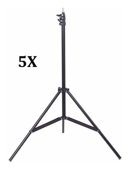 Kit 5x Tripé Iluminação Estúdio 2m P/ Led Flash E Softbox