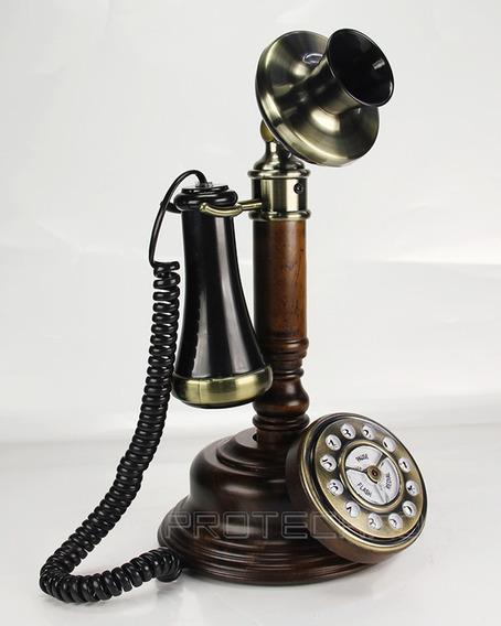 Telefono Candelero Hentak Replica Estilo Retro En Madera
