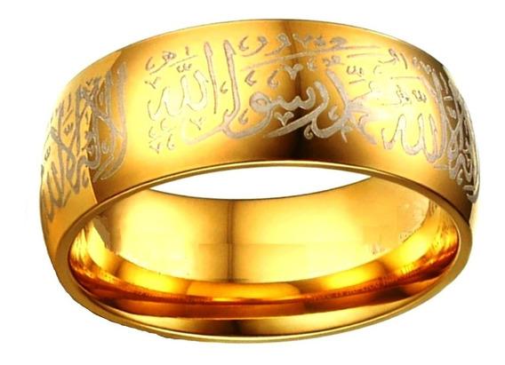 Anel Aliança Compromisso Noivado Letras Arábicas 635