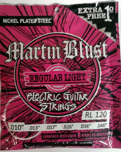 Imagen 1 de 8 de Encordado Cuerdas Martin Blust 010 Guitarra Electica + 1°