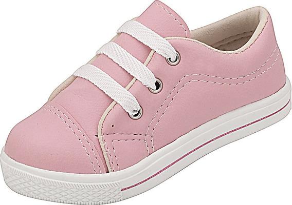Tênis Infantil Menina Plis Calçados Sintético Rosa 461