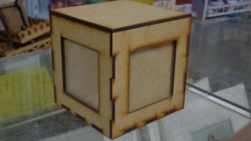 Porta Retrato Cubo Para 4 Fotos Cortado A Laser Mdf Cru