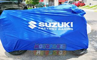Funda Impermeable Para Moto Suzuki Negra Azul