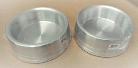 Comedouro Alumínio Pesado Para Cachorros 2 Un Medio Prata