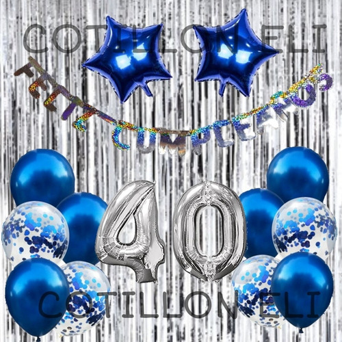 Combo Cumple Azul Cortina Globos Confeti Feliz Cumple