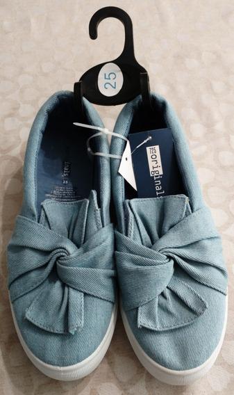 Zapato Casual Para Dama Color Aqua #25 Nuevo