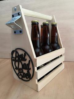 Porta Cerveza Madera Personalizado Con Destapador Huacal