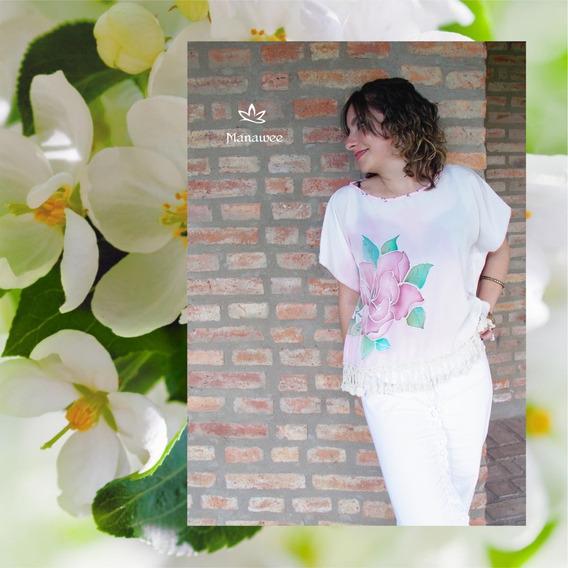 Blusa Manawee Mujer Tunica Camisola Pintada A Mano