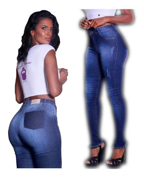 Calça Jeans Feminina Skinny Rasgada Levanta Bumbum Cós Alto