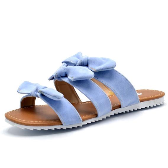 Sandália Rasteirinha Feminino Com Laços Em Nobucado Azul