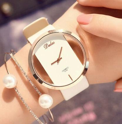 Relógio Feminino Pulseira Couro Branco