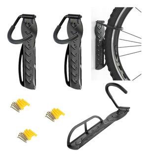 3 X Soporte Pared Para Bicicletas +chazos+tornillo9001-negro