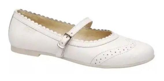 Marcel Comunión Zapato Vestir Chatita Blanco Cuero Hebilla