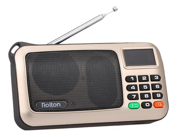 Rolton Fm Rádio Digital Portátil Usb Hifi Receptor Estére