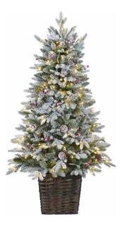 Árbol Pino Canasta Navidad Luces Led 1.37 M Envío Gratis