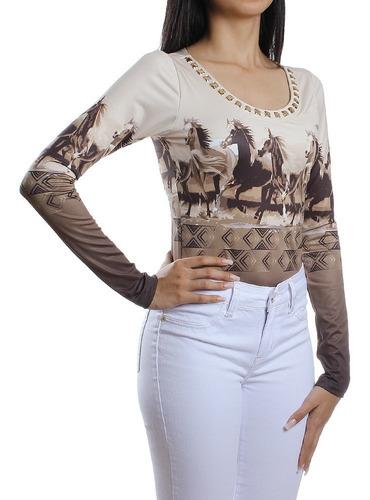 Body Feminino Buphallos Estampa Cavalos Manga Longa 25129