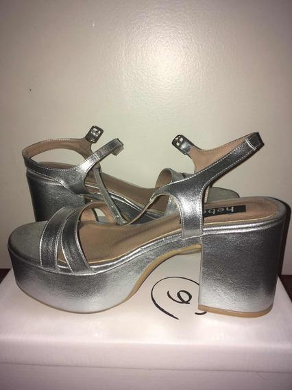 Zapatos Plateados De Heben (un Solo Uso). Perfecto Estado